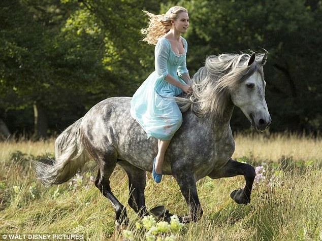Lily James as Cinderella in Robin Egg Blue Gown