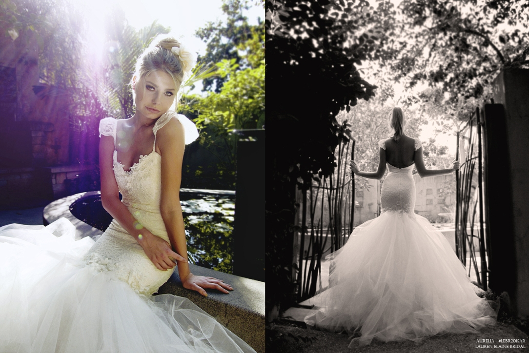 Lauren Elaine Aurelia Gown. Cap lace sleeve and tulle mermaid wedding with train.