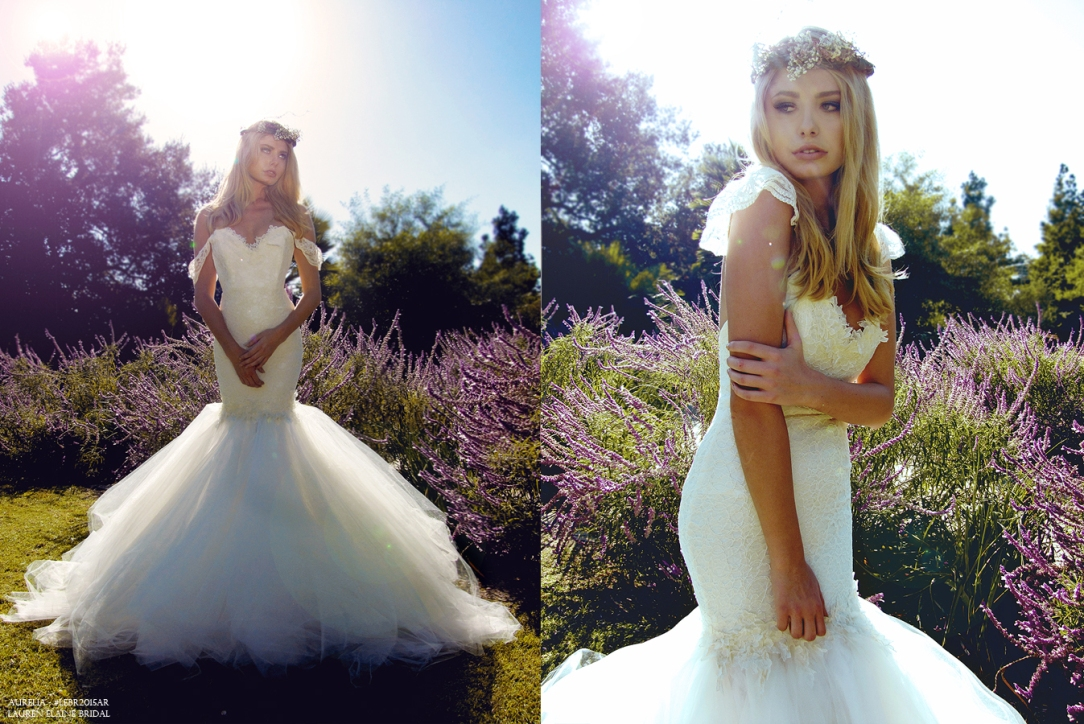 Aurelia gown by Lauren Elaine Bridal. Vintage lace fitted bridal gown.