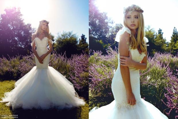 Aurelia gown by Lauren Elaine Bridal. Vintage lace fitted bridal gown.