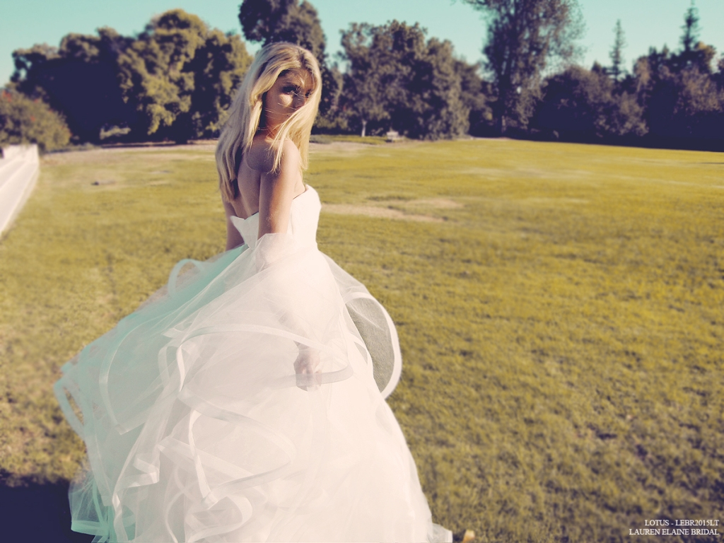 Lotus tulle and horsehair ball gown wedding dress by lauren elaine los angeles