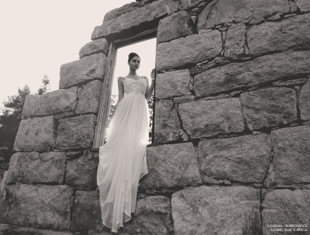 Lauren Elaine Camellia Gown. Ethereal wedding gowns made in the USA. Illusion bridal gowns.