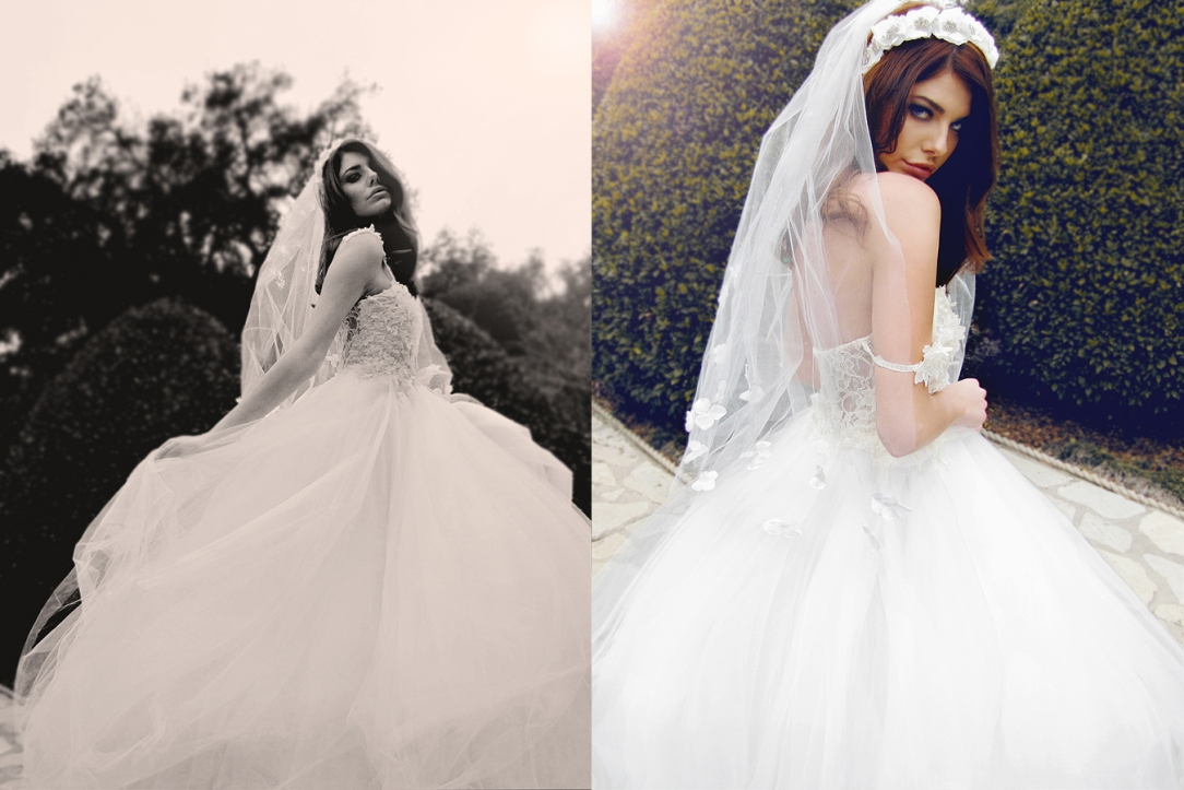 Ethereal, bohemian designer wedding gown. Whimsical tulle ball gown by Lauren Elaine Bridal.