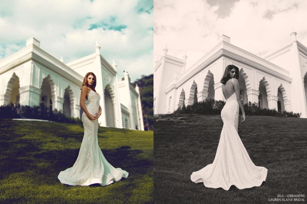 Horsehair scallop hemline on Isla Bridal Gown by Lauren Elaine Los Angeles