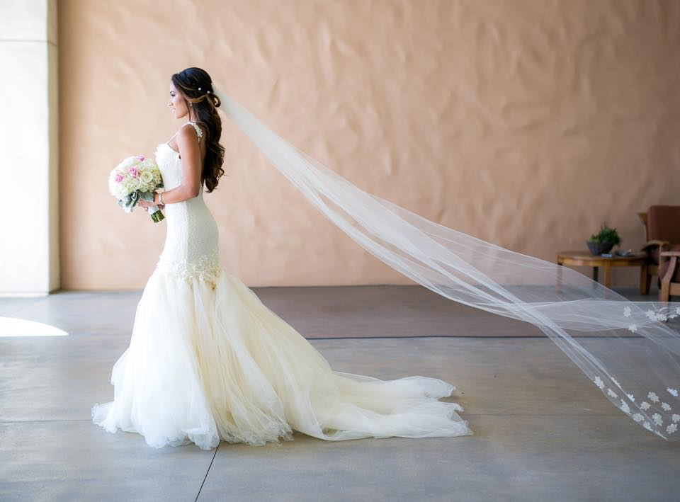 "Bride Sunshine wears her Lauren Elaine ""Aurelia"" gown and custom veil at her wedding at Hyatt Regency Huntington Beach, California"
