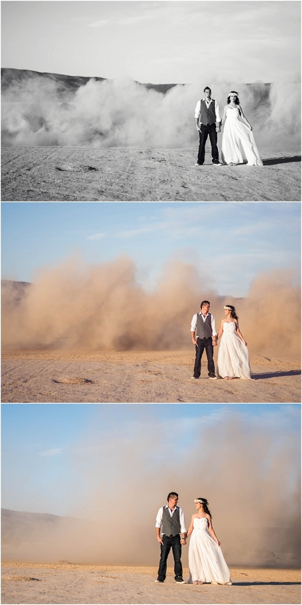 Lauren Elaine Bella gown, destination wedding, dry lake bed