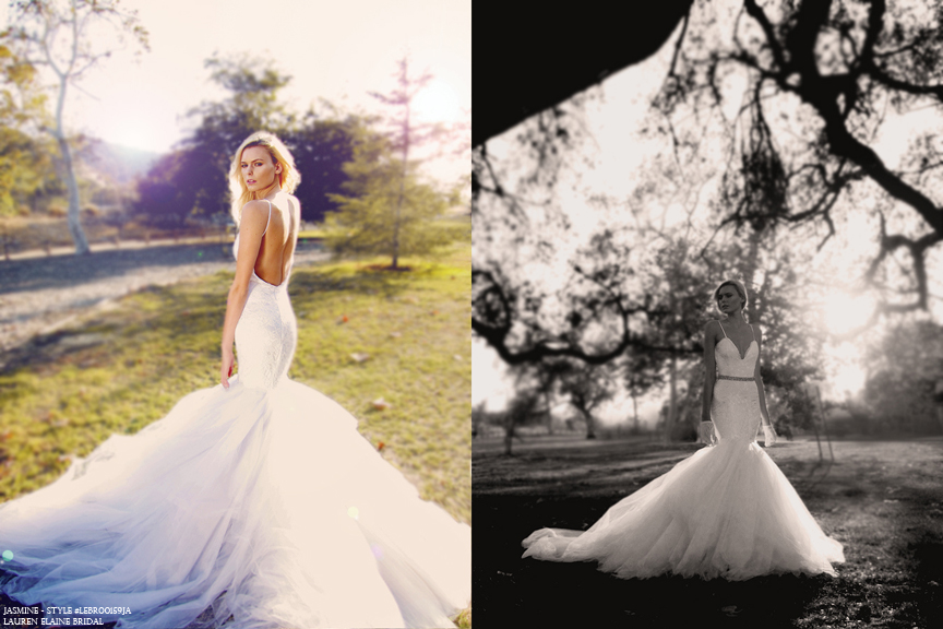 Backless tulle mermaid wedding gown with train