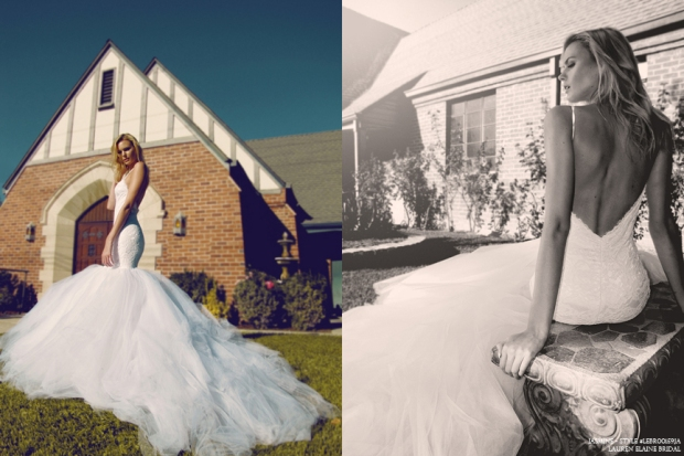 lace mermaid wedding gown with train, jasmine by lauren elaine