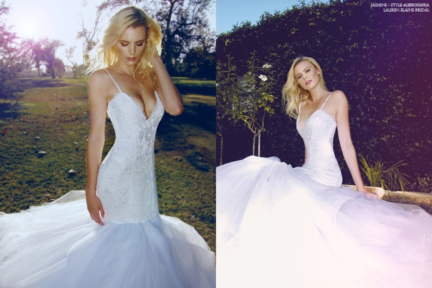 lauren elaine jasmine gown, sexy mermaid wedding dress