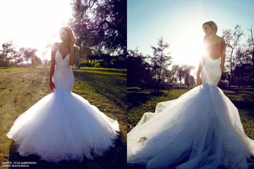 Dramatic Open Back Mermaid Wedding Dress Designer Bridal