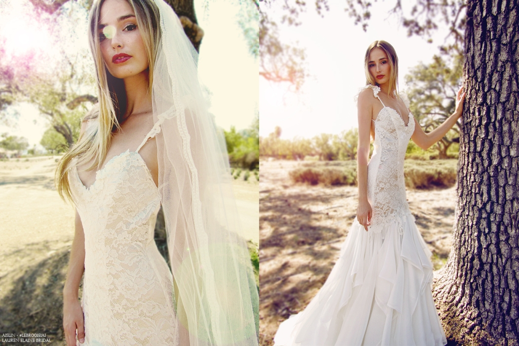 Bohemian and romantic lace mermaid wedding dress