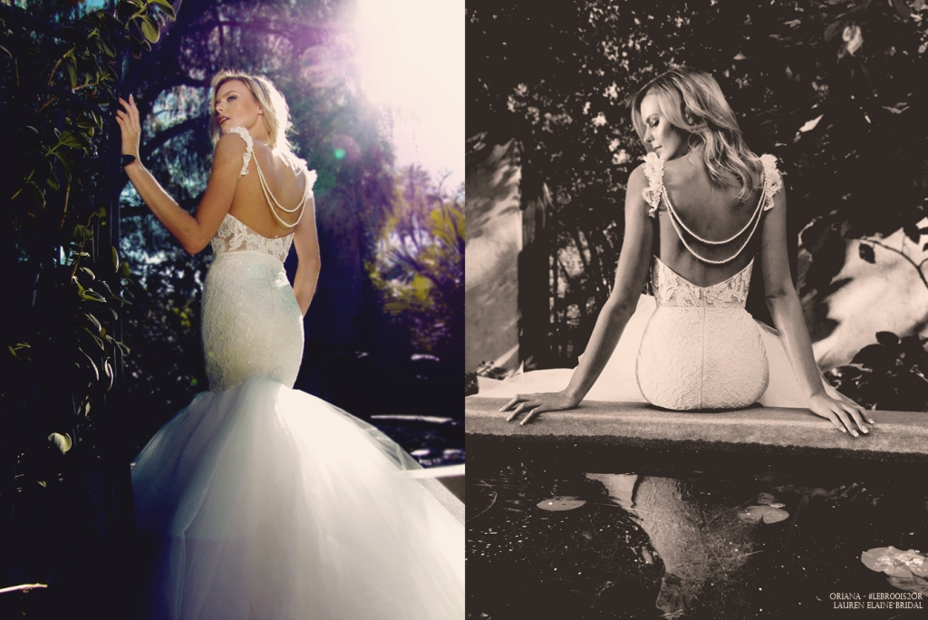 Backless mermaid wedding gown with draped pearls.