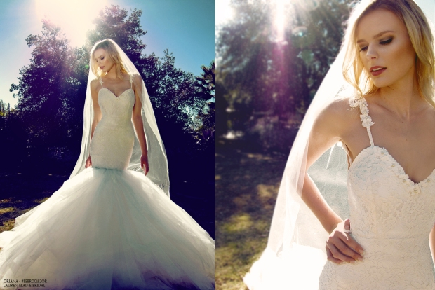 Oriana by Lauren Elaine Bridal. Tulle and lace mermaid wedding gown with pearls.