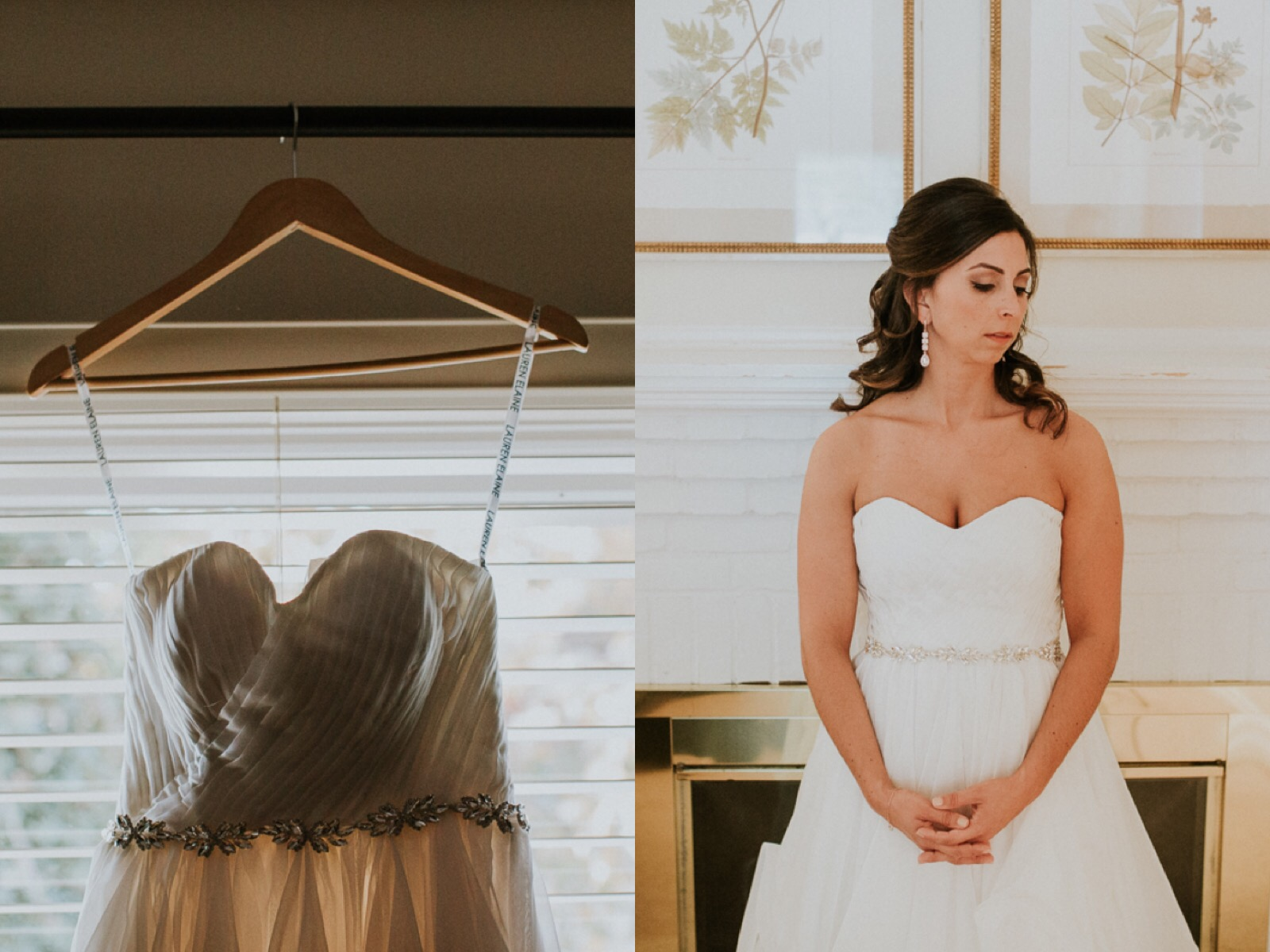 chiffon a-line wedding gown with horsehair petals and crystal belt