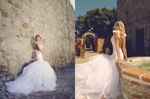 backless mermaid wedding gown with horsehair petals. vivianna by lauren elaine bridal.