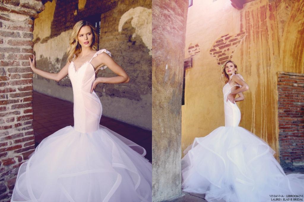Backless mermaid wedding dress by lauren elaine bridal