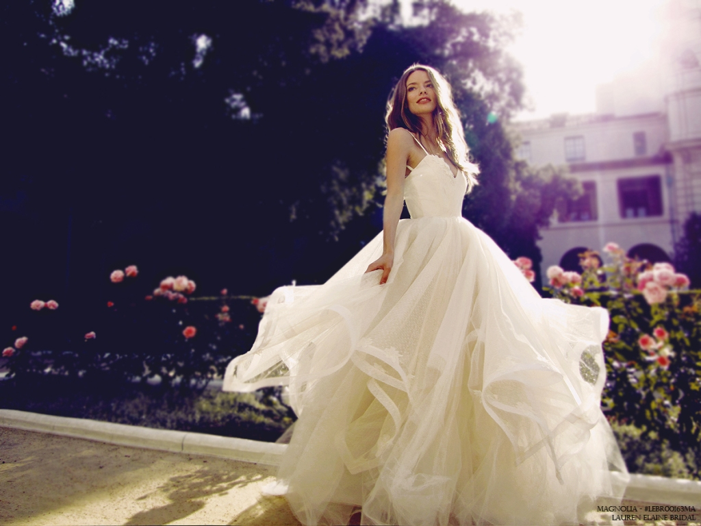 Magnolia tulle and horsehair petal ball gown wedding dress by Lauren Elaine Bridal Los Angeles
