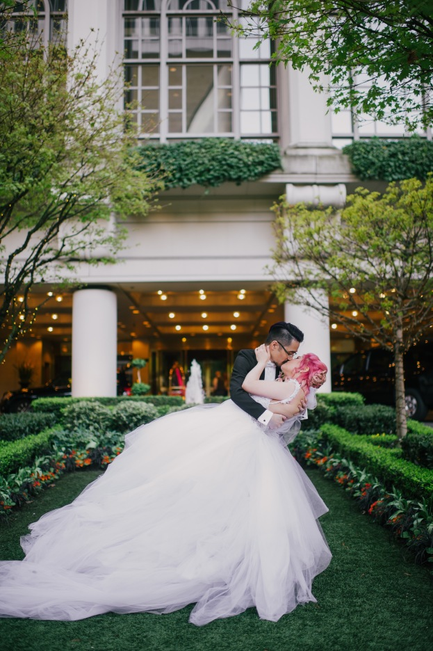 Bride Jess wears a fairytale princess tulle wedding ball gown dress by Lauren Elaine.