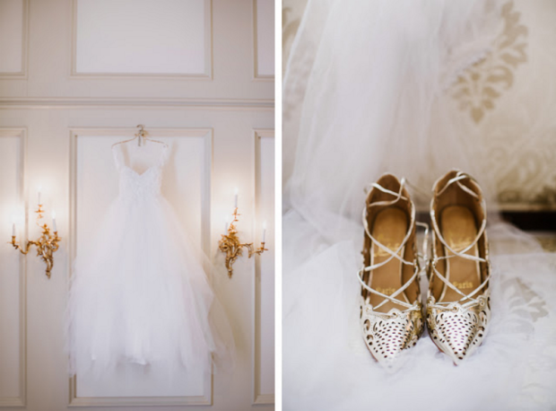 Lauren Elaine Monarch Wedding Gown and Gold Louboutin Wedding Shoes