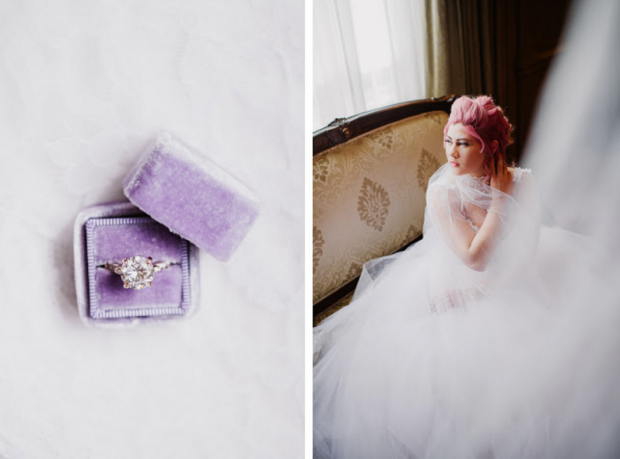 Marie Anoinette-inspired bridal look for bride Jess on her wedding day.