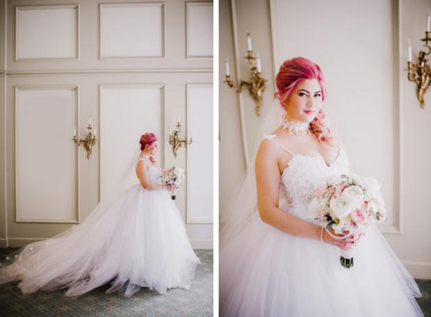 Lauren Elaine Monarch wedding gown on bride Jess.
