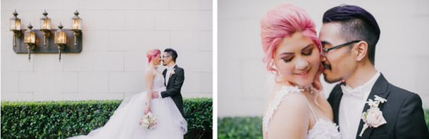 Bride Jess wears the Monarch tulle ball gown wedding dress from Lauren Elaine Bridal.