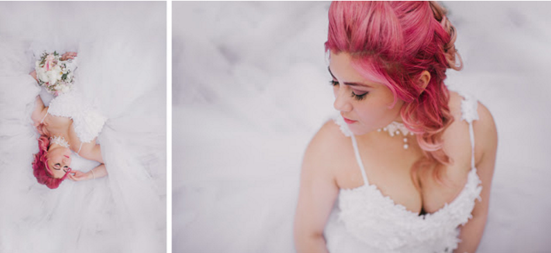 "Pink hair on bride Jess in her Lauren Elaine ""Monarch"" wedding gown."