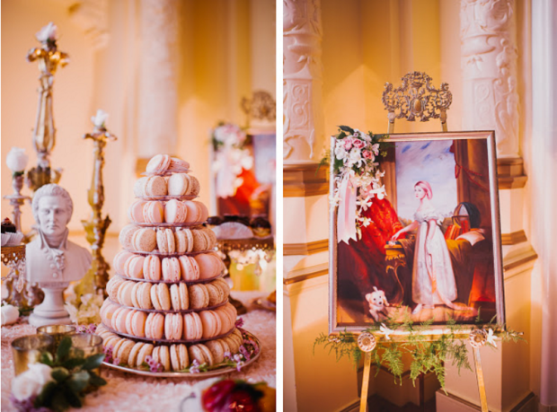 Marie Antoinette inspired wedding with macaroons and cake.