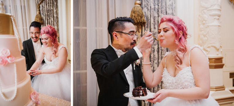 Bride Jess and Husband Ryan eat wedding cake at the Fairmont Olympic Hotel.