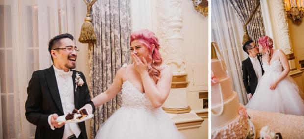 Marie Antoinette inspired wedding reception featuring the Lauren Elaine Monarch gown.