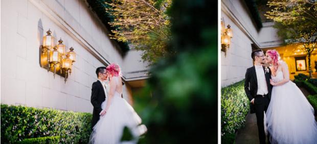 Jess wears the Lauren Elaine Monarch gown outside the Fairmont Olympic Hotel in Seattle, Washington.