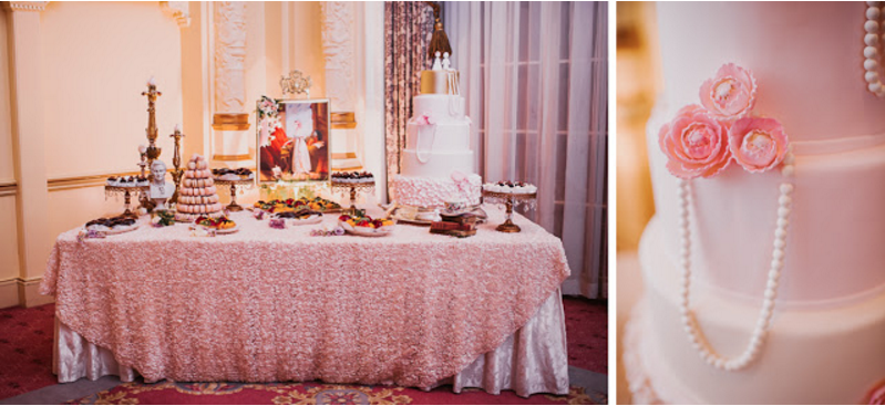Marie Antoinette inspired wedding cakes and dessert table.