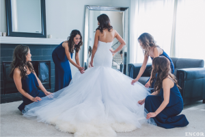 Michele tries on her custom Lauren Elaine Jasmine Bridal Gown