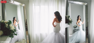 A bride tries on her custom Lauren Elaine Bridal Wedding Dress and Gown