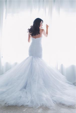Back view of custom Jasmine gown by Lauren Elaine Bridal