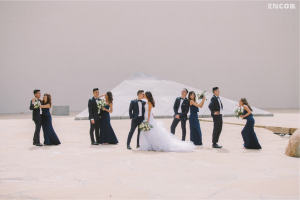 "Rooftop bridal party portraits featuring Lauren Elaine ""Jasmine"" gown"