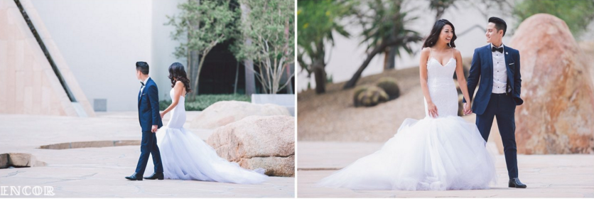 Michele wears her custom Lauren Elaine Jasmine Gown for her bridal portraits with husband Michael