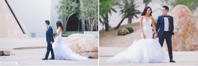 Michele wears her custom Lauren Elaine Jasmine Gown for her bridal portraits with husband Michael