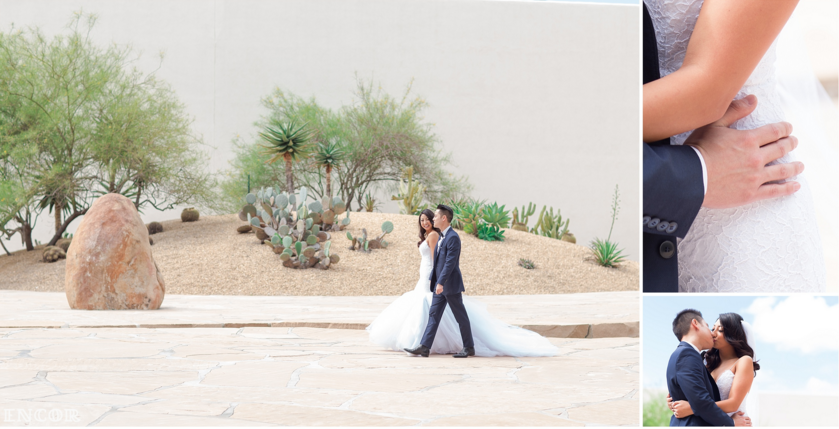 Michele takes bridal portraits in her Lauren Elaine Jasmine Gown with train