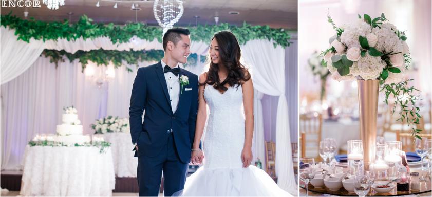 Michele enters her reception in her custom Lauren Elaine wedding gown