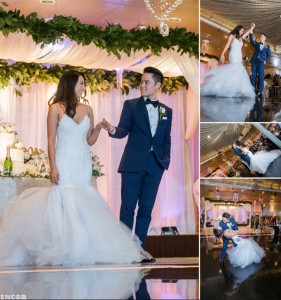 Michele tears up the dancefloor in her Lauren Elaine mermaid wedding dress