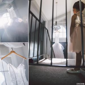 Lauren Elaine custom Jasmine Gown hanging by a window