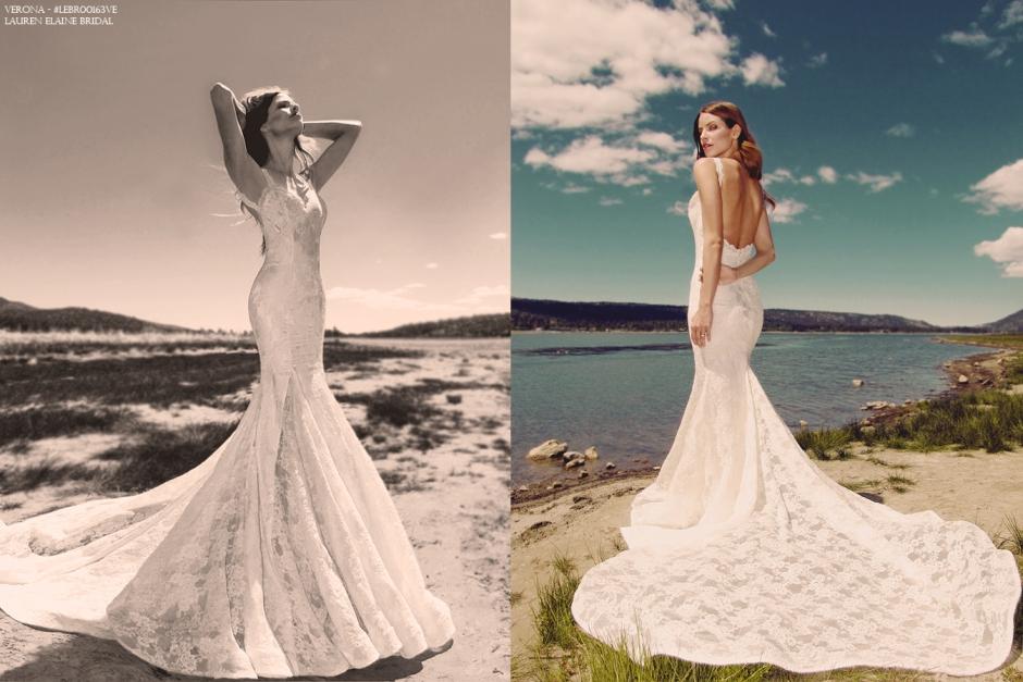"""Backless mermaid """"Verona"""" gown by Lauren Elaine Bridal"""