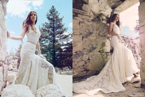 Backless lace wedding dresses with cathedral trains by Lauren Elaine