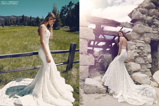 Bohemian wedding gowns and bridal dresses by Lauren Elaine Bridal. Pictured: Verona Gown