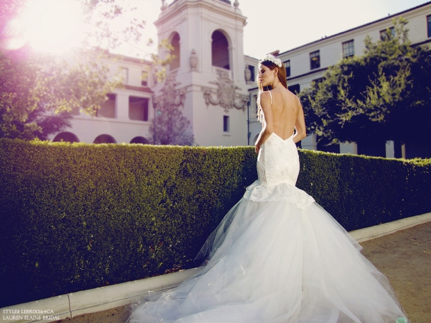Sexy backless mermaid wedding gowns and bridal dresses by Designer Lauren Elaine in Los Angeles, CA