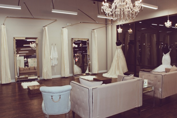 "Lauren Elaine ""Jasmine"" wedding gown style on display at Genevieve's Bridal Couture in Chicago"