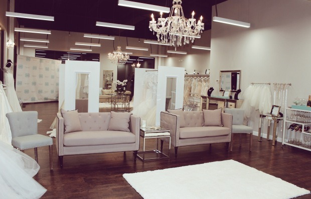 Interior of Genevieve's Bridal Couture wedding salon in Barrington, Illinois