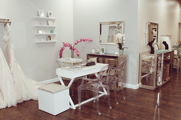 Interior of Genevieve's Bridal Couture luxury wedding salon in Chicago, Illinois