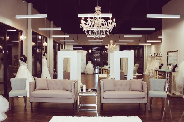 A look inside Genevieves Bridal Couture wedding dress salon in Chicago carrying Lauren Elaine Bridal
